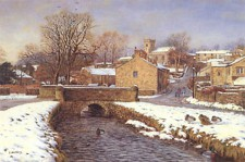 Downham in December. Painting by Keith Melling