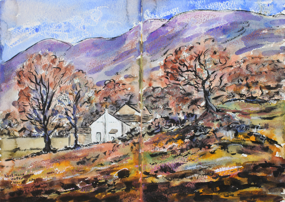 Kentmere Valley. Watercolour sketch by Keith Melling