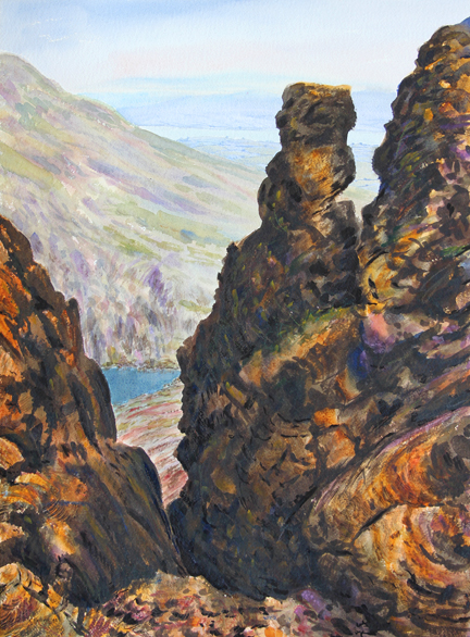 Easy Gulley , Dow Crag, Lakeland. Watercolour by Keith Melling
