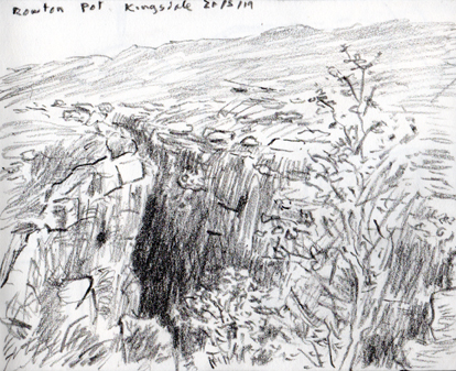 Rowton Pot, Kingsdale, Yorkshire Dales. Sketch Keith Melling