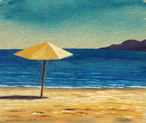 Agay Beach, France. Painting by Keith Melling