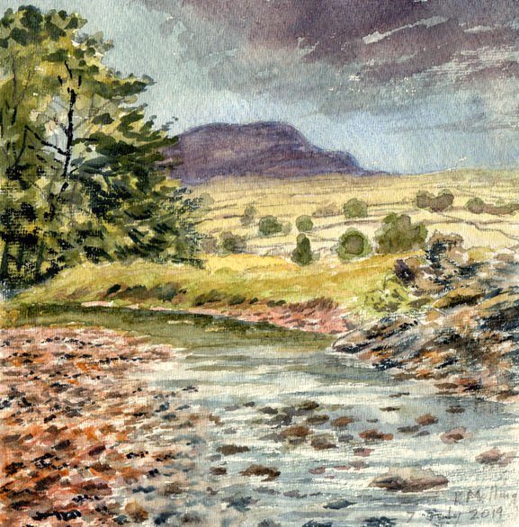 Pen-y-ghent and River Ribble, Yorkshire Dales. Watercolour - Keith Melling