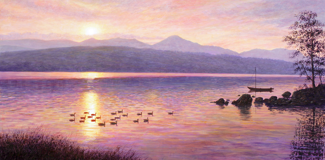 Suset Over Coniston Water. Painting by Keith Melling