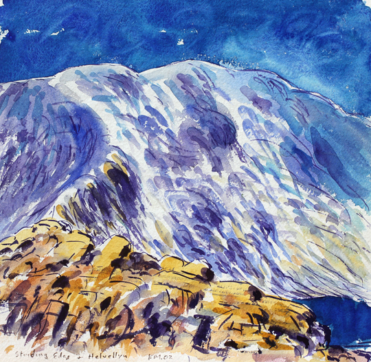 On Sriding Edge, Helvellyn. Watercolour sketch by Keith Melling