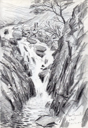 High Tilberthwaite Force, Cumbria. Sketch - Keith Melling