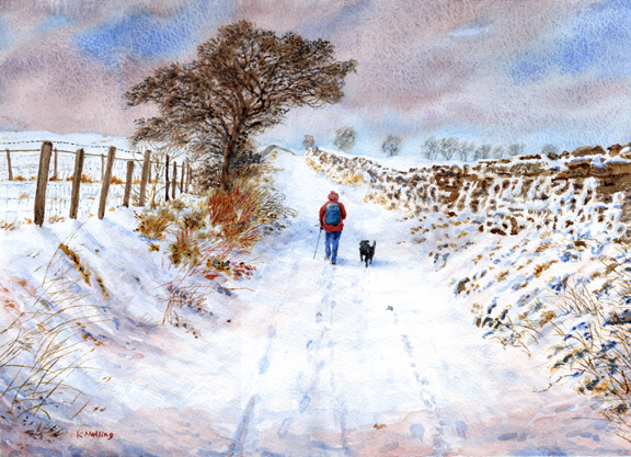 Sandy Hall Lane, Snow. Watercolour by Keith Melling