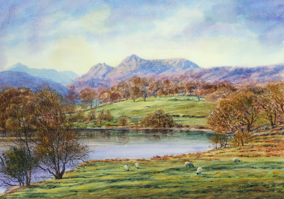 Langdale Pikes from Loughrigg Tarn. Painting by Keith Melling