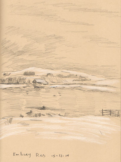 Embsay Reservoir, Yorshire Dales. Sketch by Keith Melling