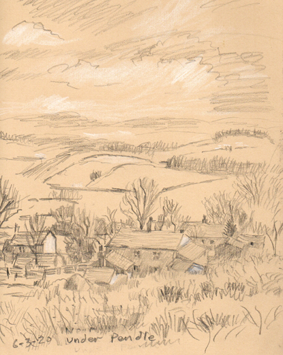 Under Pendle, Barley, Lancashire. Sketch by Keith Melling