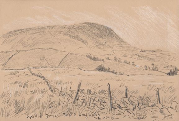 Pendle Hill from Top o' Lingbobs. Sketch -  Keith Melling