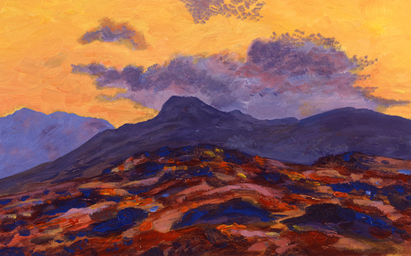 Langdale Pikes from Blea Rigg. Oil paiting - Keith Melling