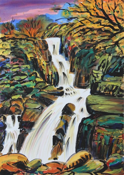 A Langdale Waterfall. Watercolour - Keith Melling