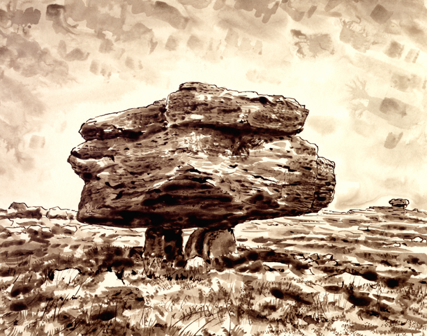 Erratic Boulder, Norber, Yorkshire Dales. Drawing: Keith Melling
