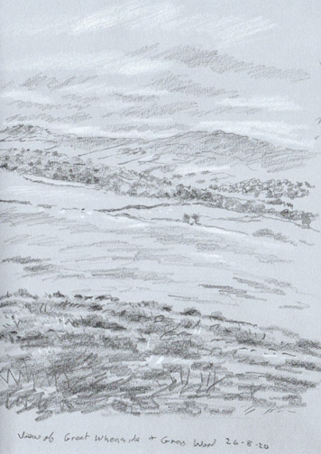 Gt Whernside and Grass Wood from above Skirethorn, Threshfield. Sketch: Keith Melling