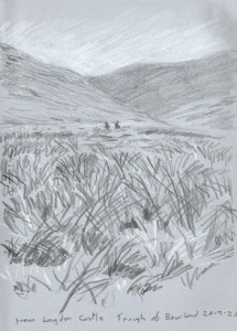 From Langden Castle, Trough of Bowland. Sketch - Keith Melling