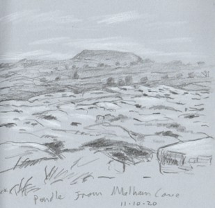 Top of Malham Cove, view to Pendle Hil. Sketch: Keith Melling