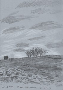 Near Swinden Quarry, Cracoe, Yorkshire Dales. Sketch: Keith Melling