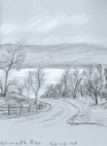 Grimwith Reservoir, near Hebden, Yorkshire Dales. Sketch: Keith Melling