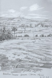 Blacko Tower from Clarion House, Roughlee. Sketch: Keith Melling