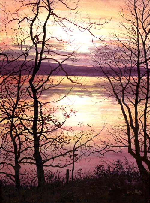 Malham Tarn Sunset, Yorkshire Dales. Painting : Keith Melling