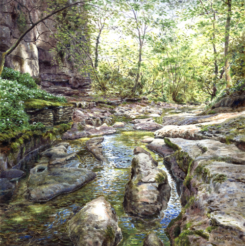 How Stean Gorge, Nidderdale. Painting : Keith Melling