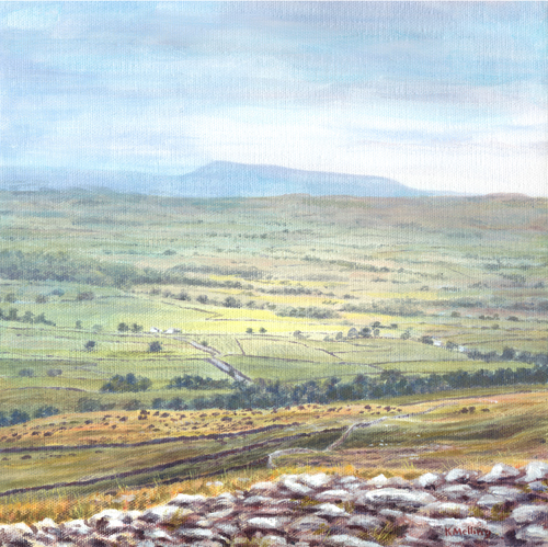 Distant Pendle from Norber, Yorkshire Dales. Painting : Keith Melling