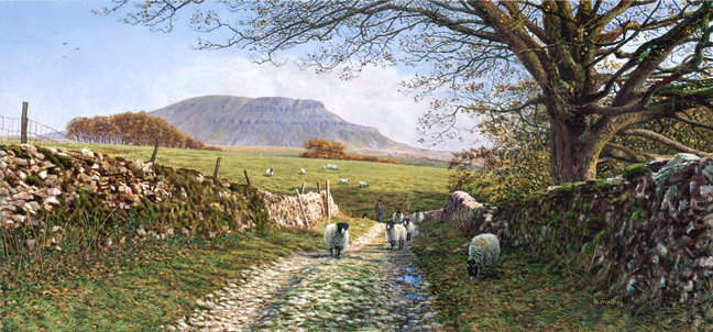 Penyghent from Horton Scar Lane, Yorkshire Dales. Painting: Keith Melling