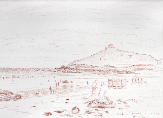 Porthmeor Beach, St.Ives, Cornwall. Sketch: Keith Melling