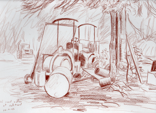 Old road roller at Oakhead caravan site, Ayside, Cumbria. Drawing: Keith Melling
