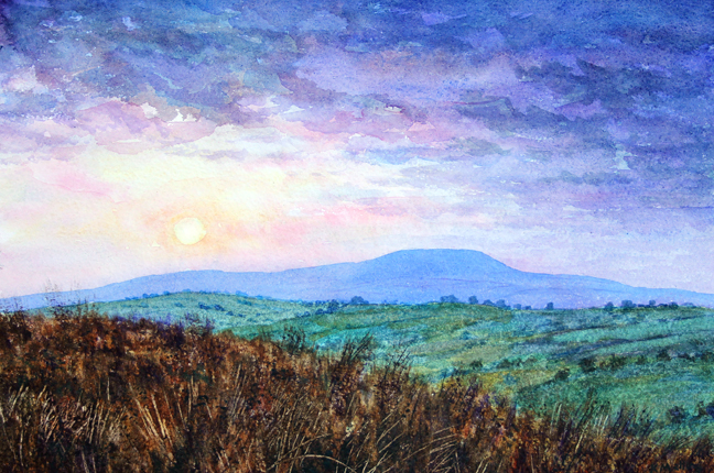 Pendle Hill from abve Thursden Valley. Watercolour: Keith Melling