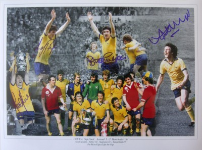 Arsenal 1979 FA Cup Winners signed x Pat Rice and 3 Goal Scorers
