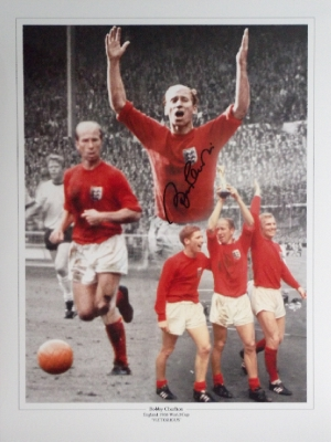 Bobby Charlton Signed England 1966 World Cup Winners Montage