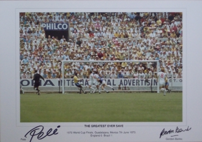Pele & Gordon Banks dual signed Greatest Save Mexico 1970 World Cup