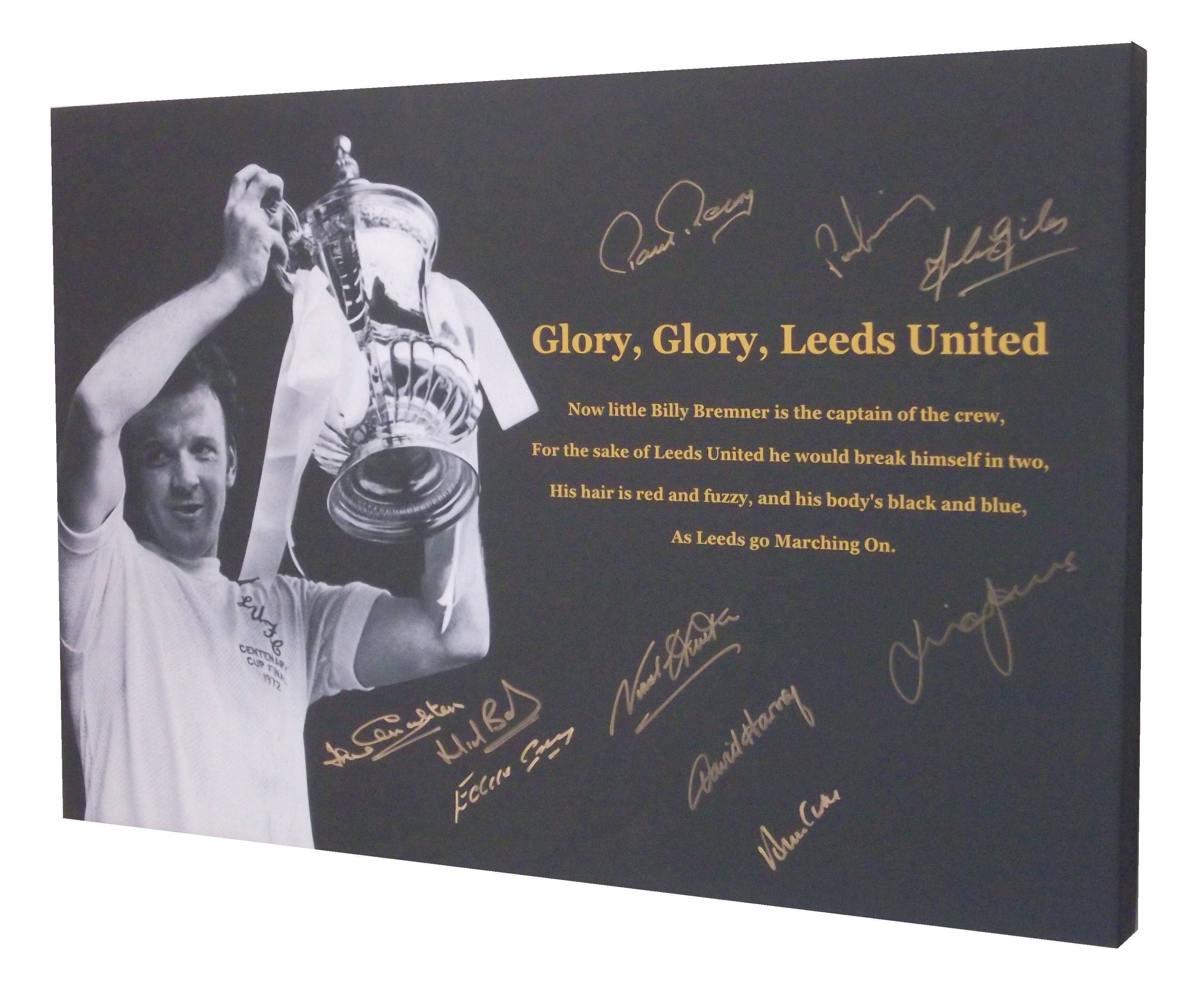 Leeds United 1972 FA Cup Winners Signed Canvas Signed x 10