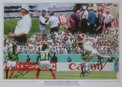 John Aldridge and Jack Charlton signed Republic of Ireland Montage