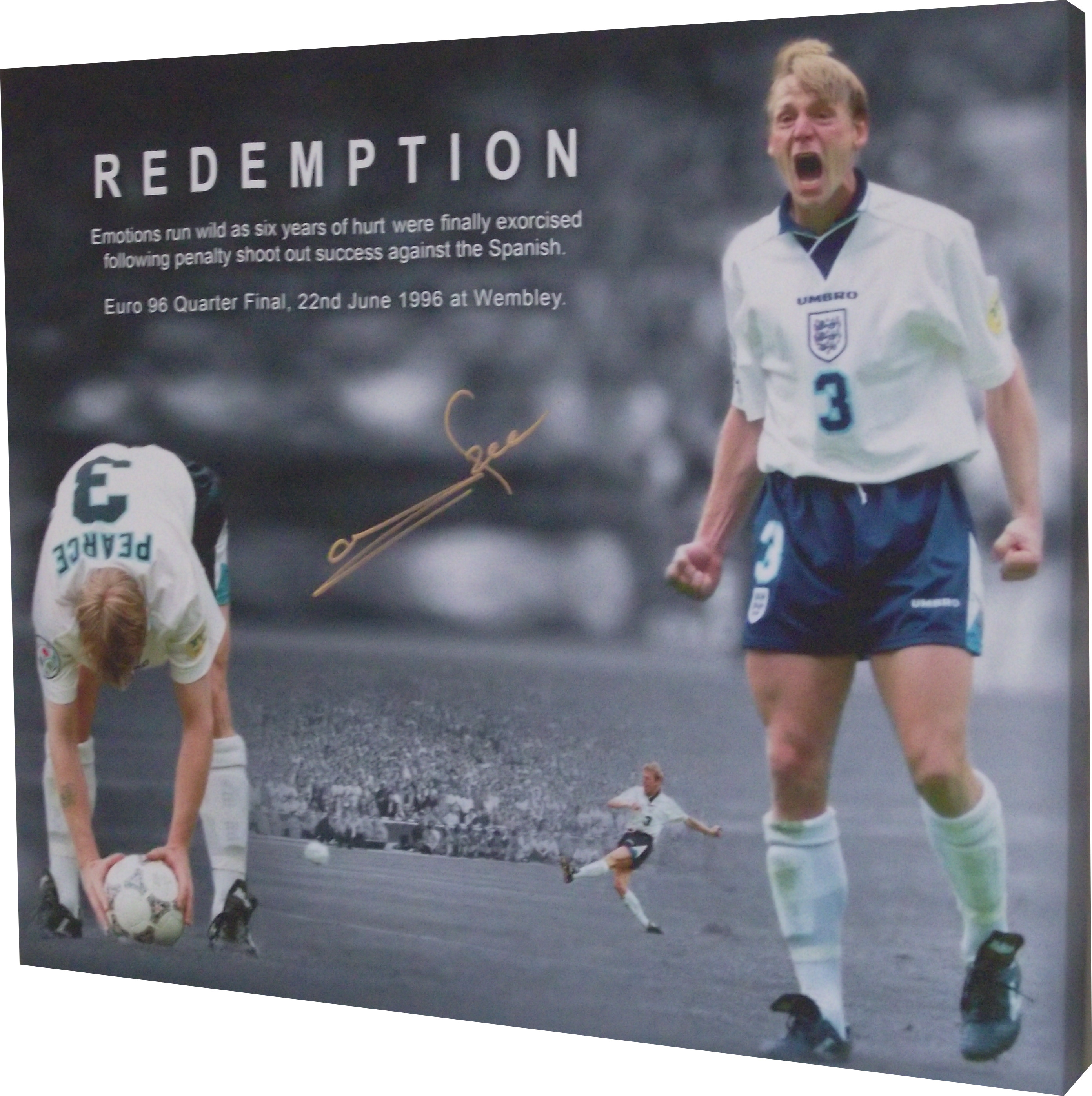 Stuart Pearce signed canvas scores penalty England Euro 96 against Spain