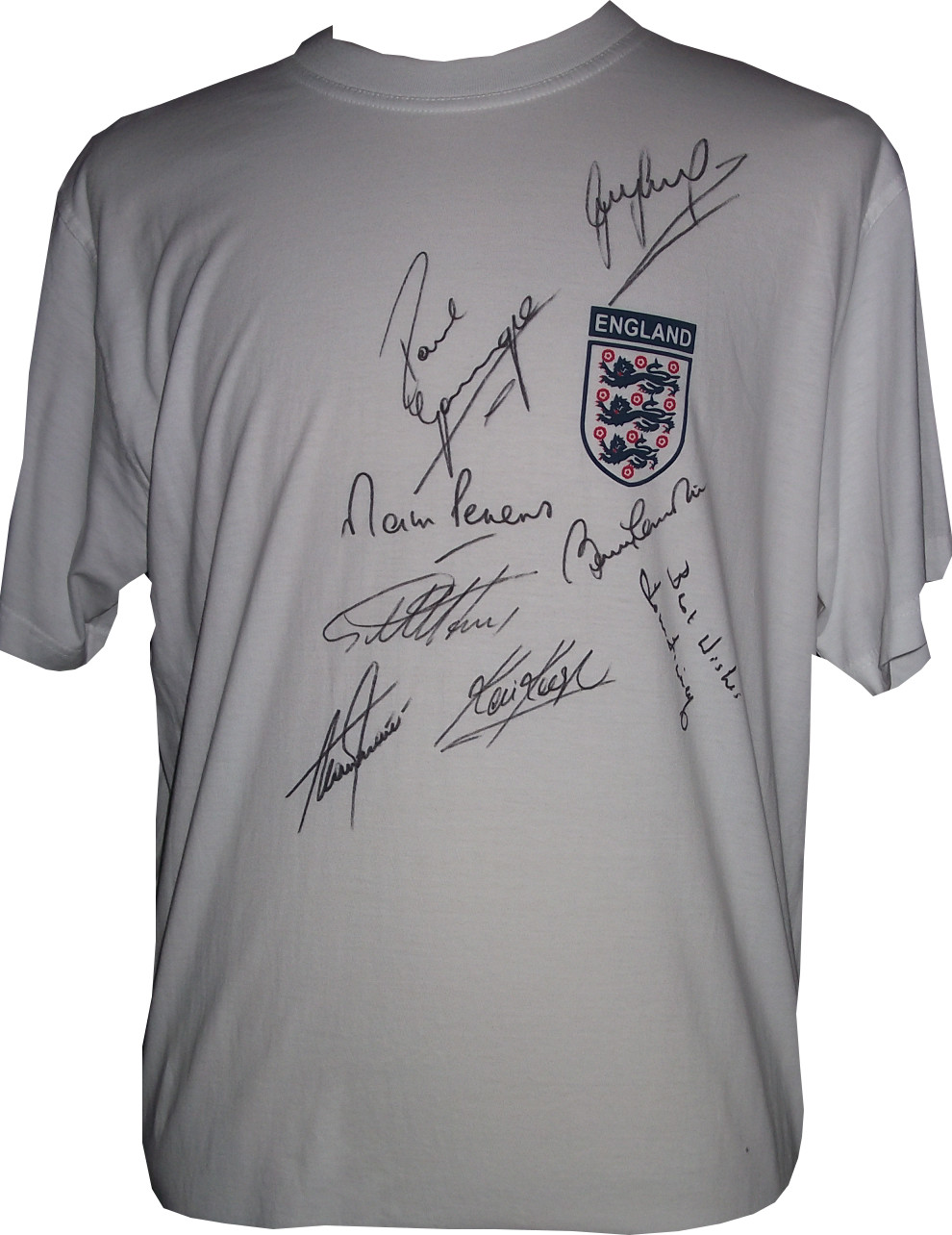 England Shirt Signed x 8 Legends Lineker, Gazza, Hurst, Finney, Peters, Keegan, Shearer & Bobby Charlton
