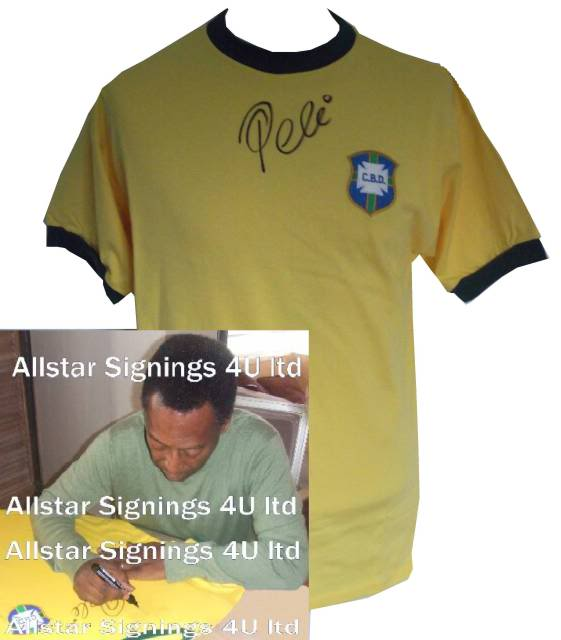 Pele Brazil Signed retro Mexico 1970 World Cup Shirt