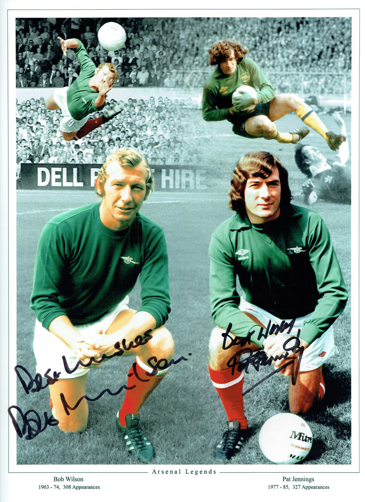 Arsenal Legends Bob Wilson & Pat Jennings Dual Signed Montage