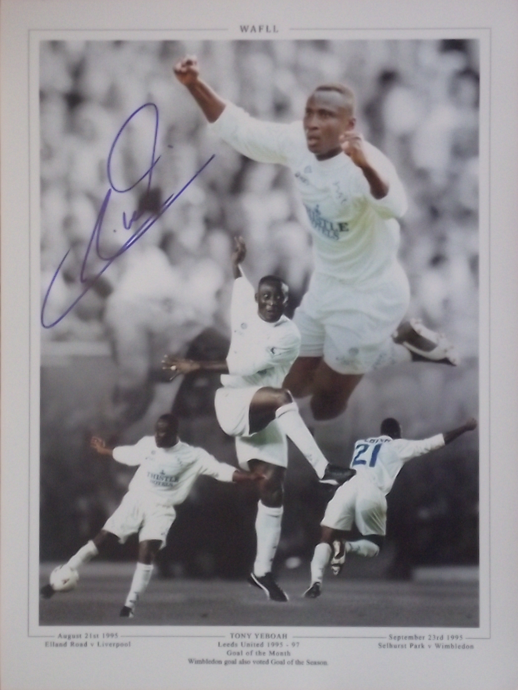 Tony Yeboah Leeds United Signed Montage Goal of Month Liverpool Wimbledon 1995