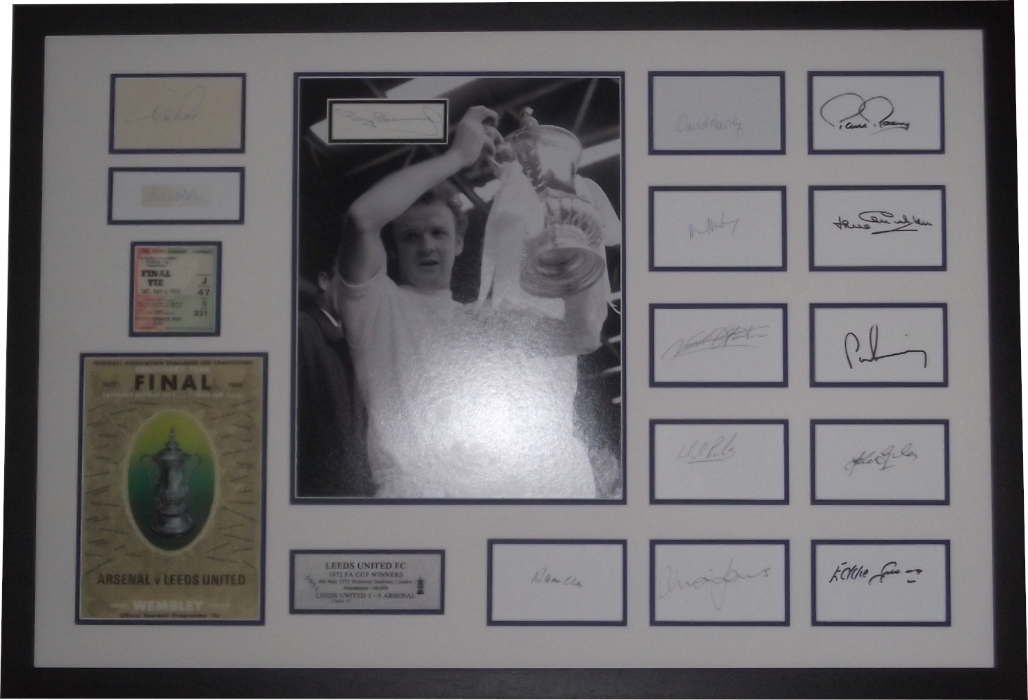 Leeds United 1972 FA Cup Winners Fully Signed Team Display + Manager / Trainer