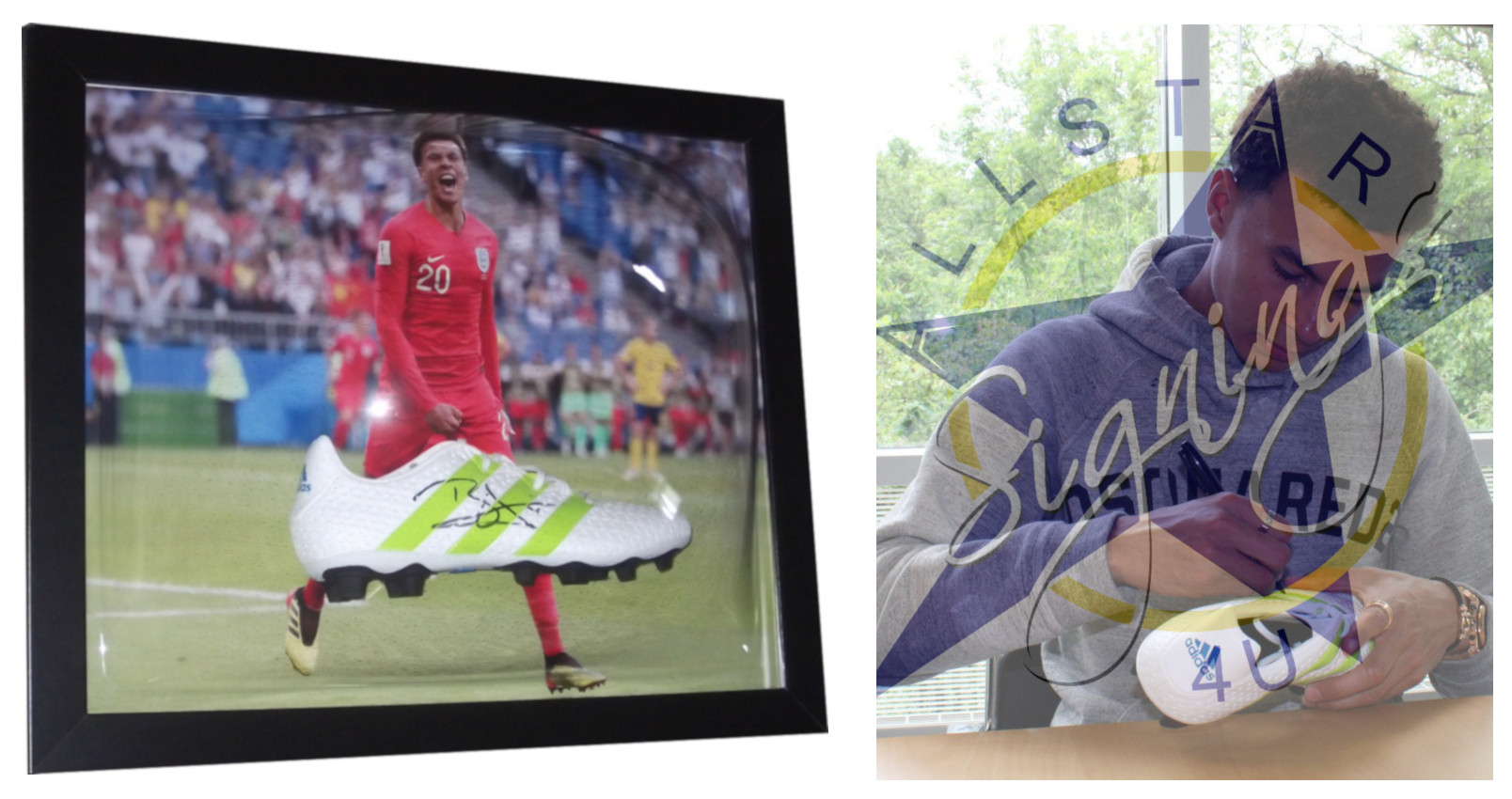 Dele Alli England Signed & Framed Football Boot Celebrating Russia 2018 goal against Sweden