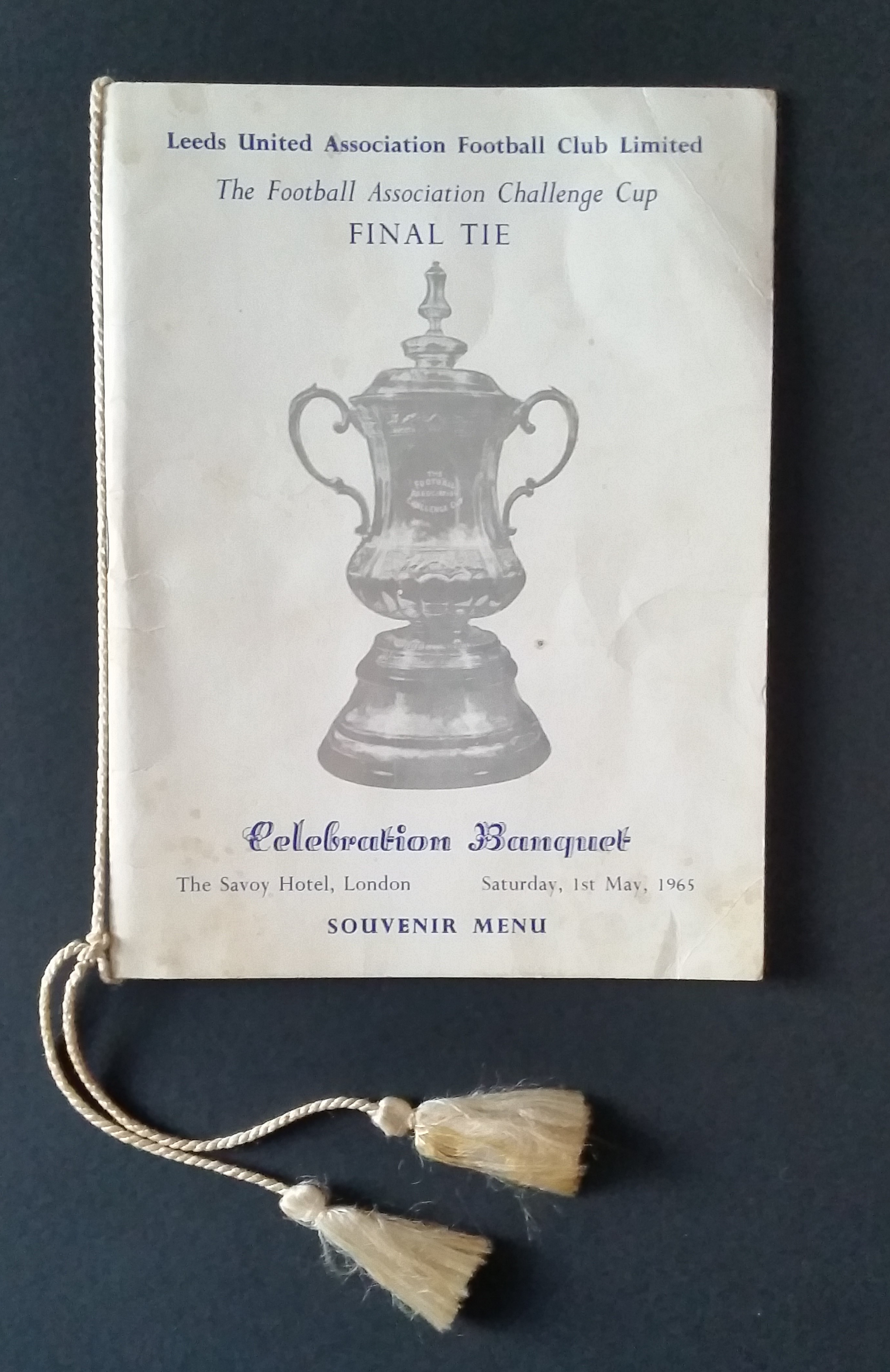 1965 FA Cup Final LEEDS UNITED Banquet Brochure Signed 29 Don Revie Les Cocker
