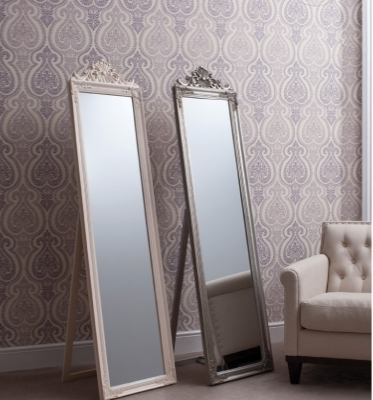Lambeth wood cheval silver or white mirrors 70x17in SALE £69