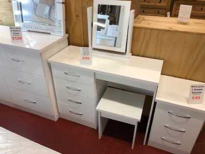 White gloss dressing Table with stool & mirror £99