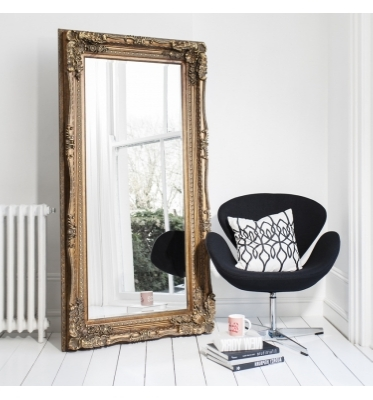 Carved louis leaner mirror gold 69x36in SALE £199