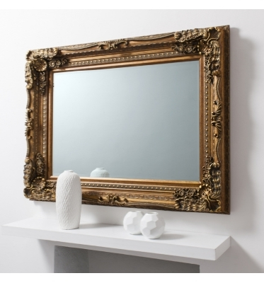 Carved louis mirror gold 47x36in SALE £149