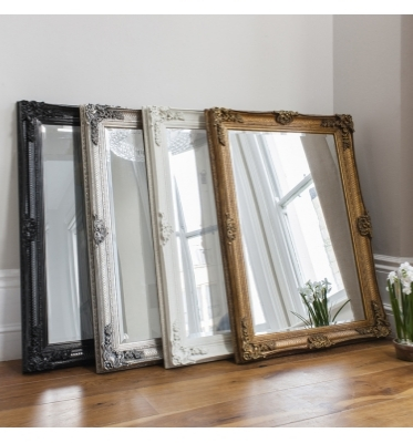 Abbey rectangle mirror in black, cream, gold or silver 43x31in SALE £109