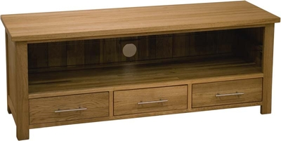 Modern Classic Solid Oak Large 3 Drawer TV unit