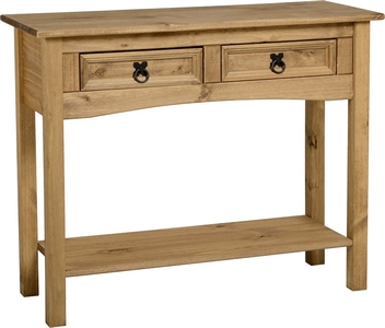 Corona Mexican Pine 2 drawer console table with shelf